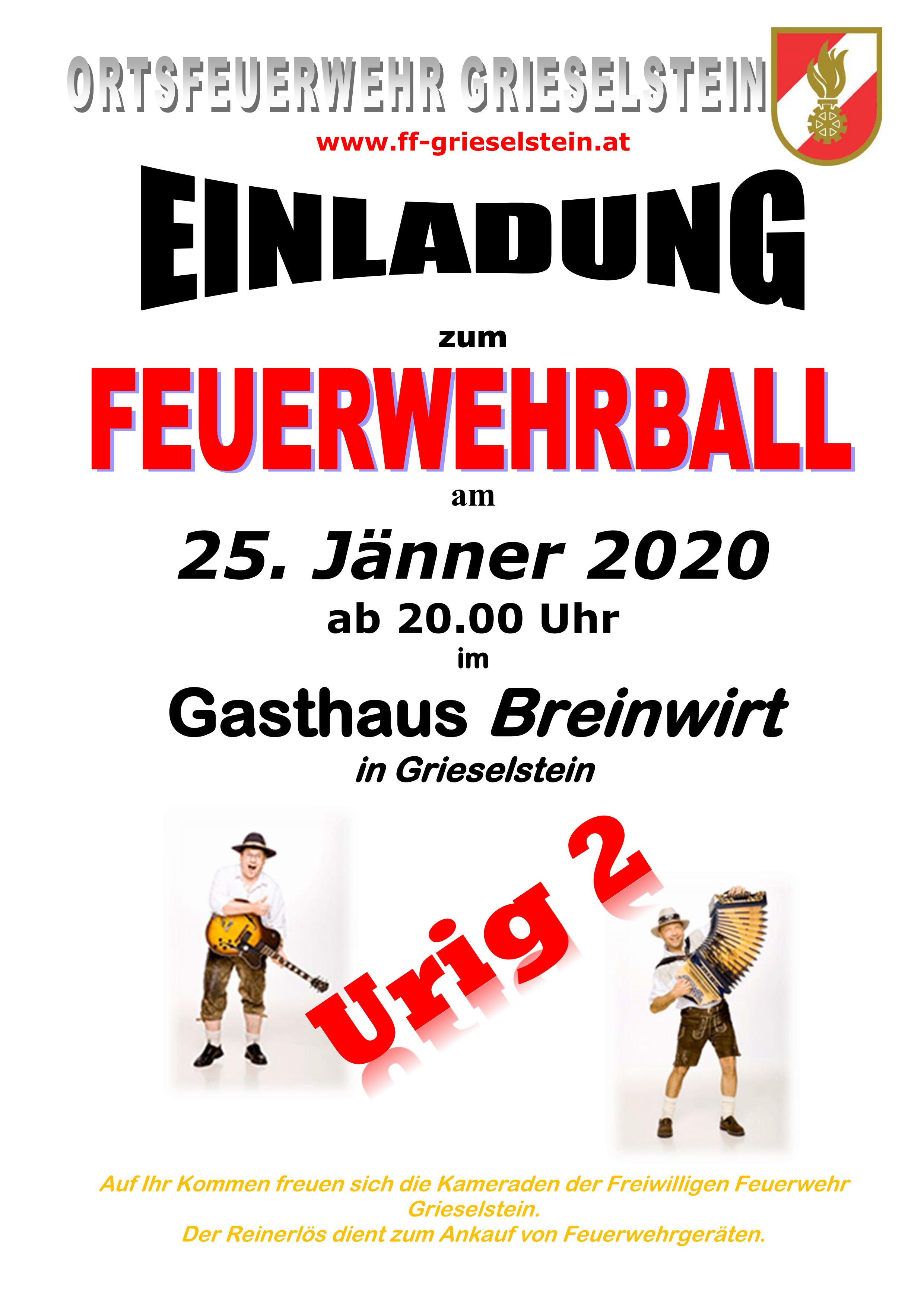 Einladung zum Feuerwehrball